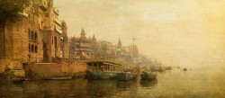 Fotografía panorámica del Río Ganges en Varanasi (antiguo Benarés), India nº02