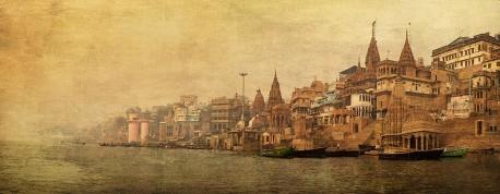 Fotografía panorámica del Río Ganges en Varanasi (antiguo Benarés), India nº09