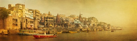 Fotografía panorámica del Río Ganges en Varanasi (antiguo Benarés), India nº06
