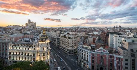 Cuadro de la calle Gran vía de atardecer de Madrid nº04