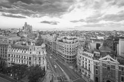 Imagen de la calle Gran vía de día de Madrid nº02 B&N