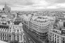 Imagen de la calle Gran vía de día de Madrid nº01 B&N