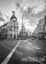 Cuadro de la Gran Vía y la Calle Alcalá de Madrid Blanco y negro nº01