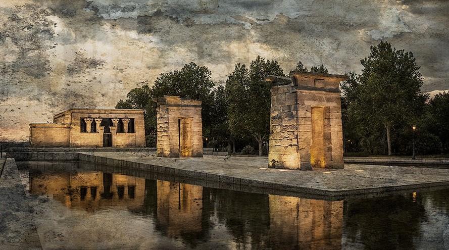 Cuadro Templo de Debod anocheciendo, Madrid