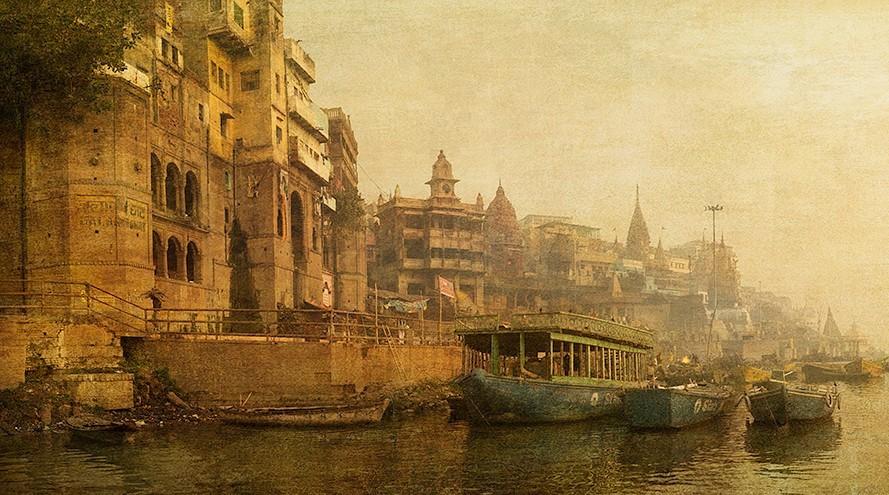 Cuadro del Río Ganges en Varanasi, India
