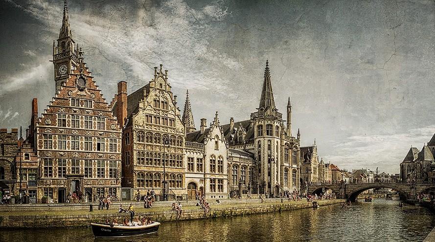 Cuadro del puerto medieval de Gante, Belgica